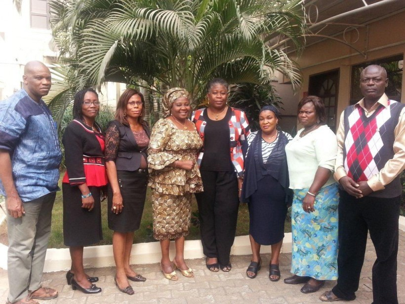 (From left to right) Dr. Uwem Esiet (AHI Director), Mrs. Adefunke Ogedengbe (District I), Mrs. Olufunke Olu-Young (District II), Mrs. Toyin Sanda (District III), Mrs. Adenike Esiet (AHI Executive Director), Mrs. Adedayo Adetunji (District V), Mrs. Comfort Ekundayo (District IV), and Mr. Tajudeen Oshodi (District VI)